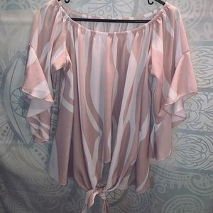 Super cute zebra print off shoulder blouse
